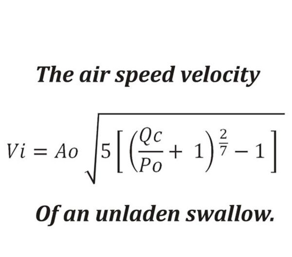 airspeed velocity of an unladen swallow